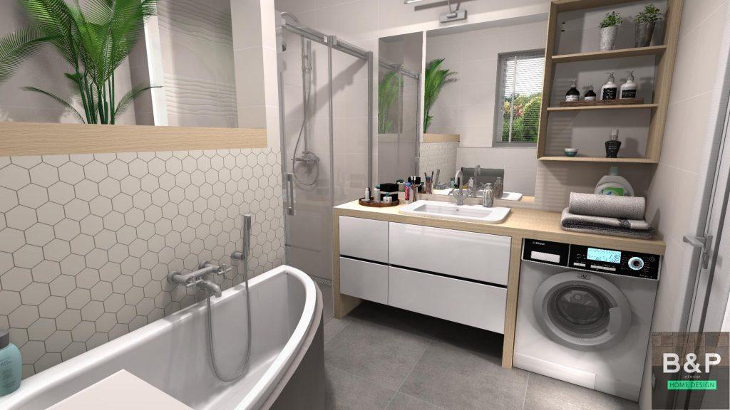 Tubadzin All in White egy különleges elrendezésű fürdőben