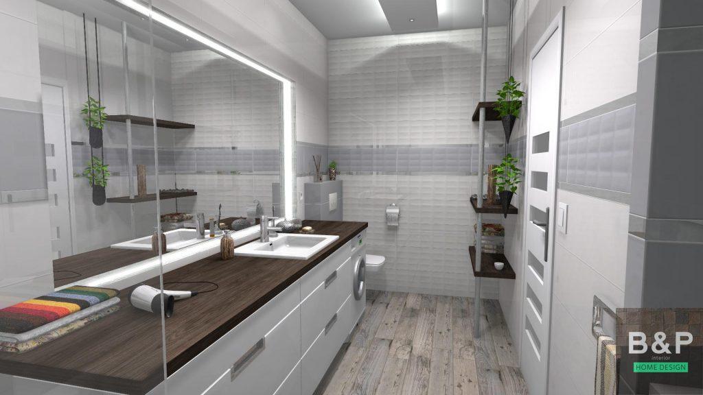 Opoczno Vivid Colours szürke és fehér, egy jól kihasznált, hosszú fürdőszobában