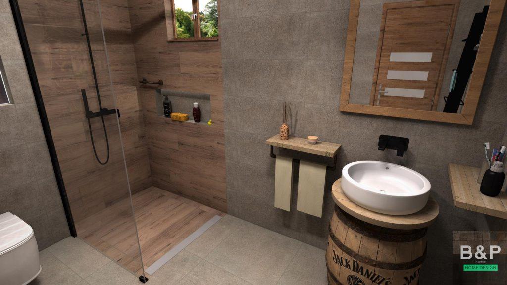 Egy whiskey-főzde témába vágó fürdőszobája